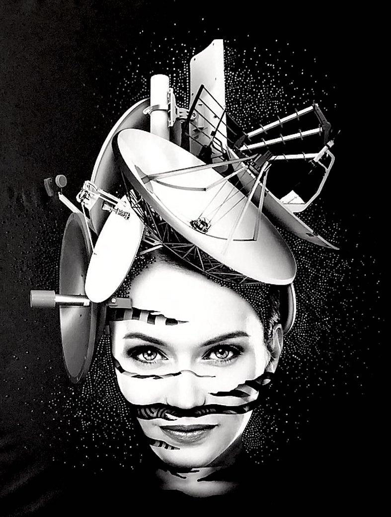 arte digitale Edy Gree italia bianco nero su tela , artista moderna e contemporanea digitale