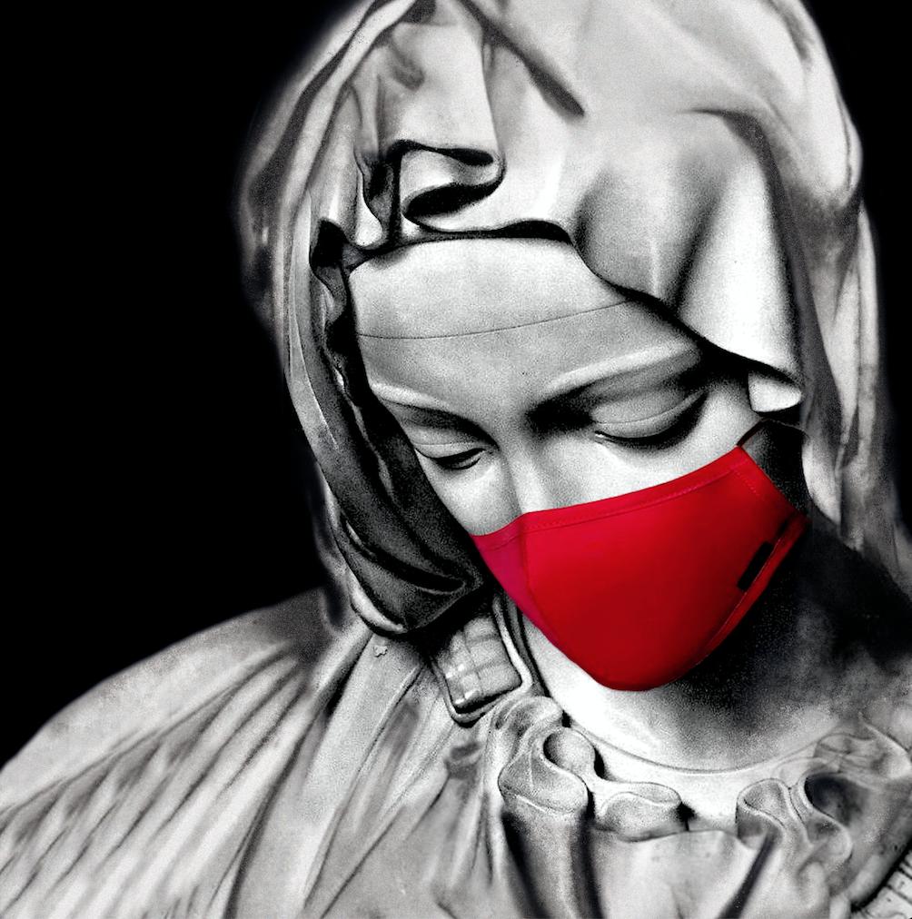 La pietà mascherina arte digitale 2018 Edy Gree artista moderna e contemporanea , elaborazione su plexiglass